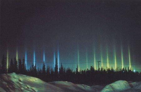 Разноцветные столбы света